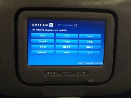 united in-flight screen