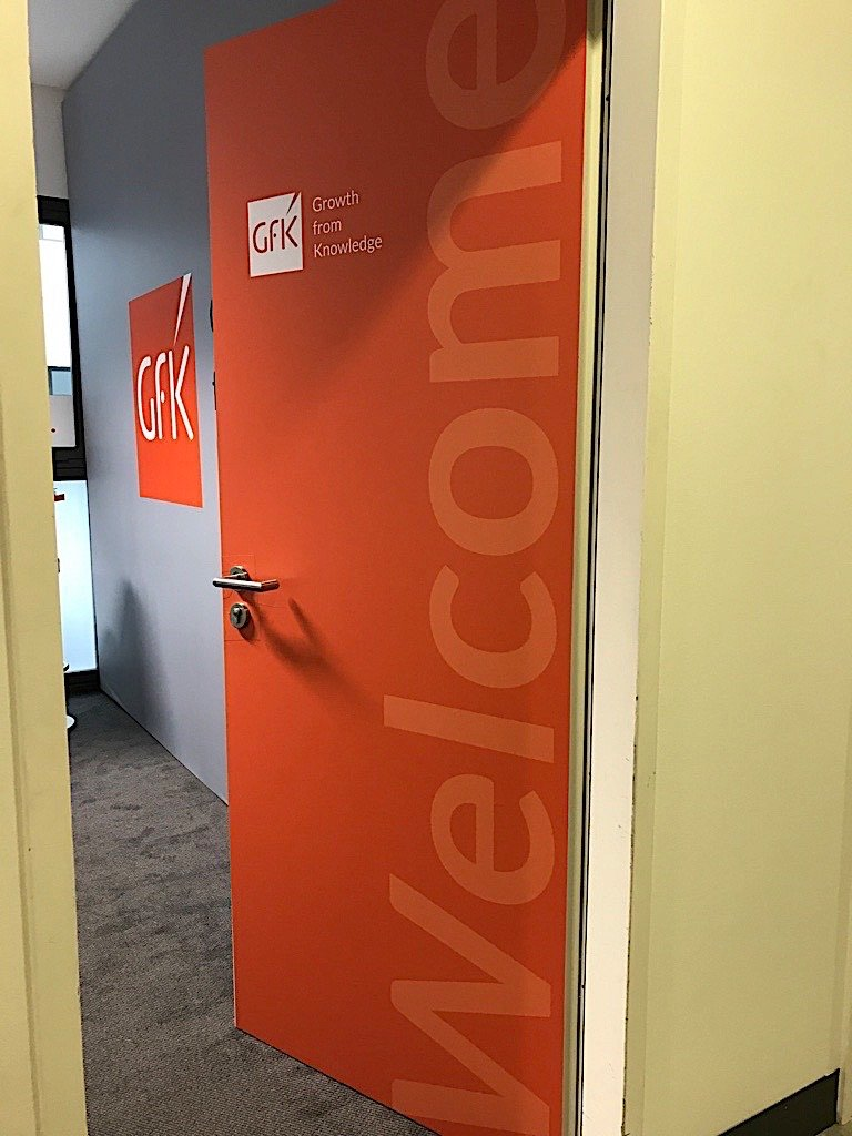 GfK meeting room in the GPC area welcoming clients and visitors